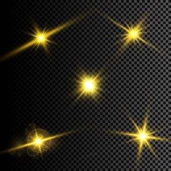 Illustrazione vettoriale di raggi di luce flare astratti un insieme di stelle di luce e raggi di radianza e brigh