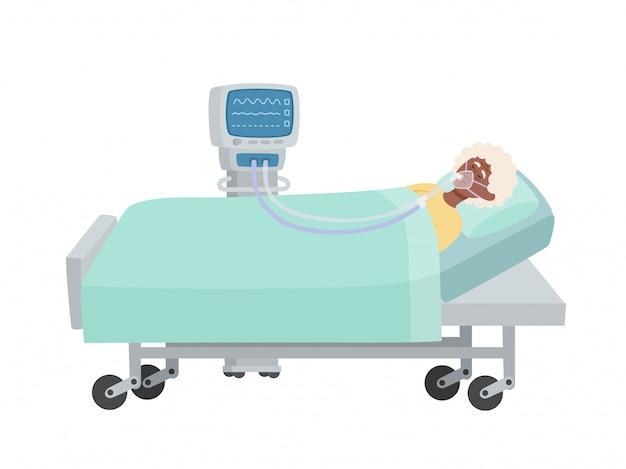 Illustrazione vettoriale di donna anziana afro-americana con maschera di ossigeno e ventilatore isolato, tema medico