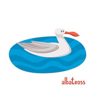 Illustrazione vettoriale di albatro sul mare freddo in stile cartone animato, foto per libro per bambini