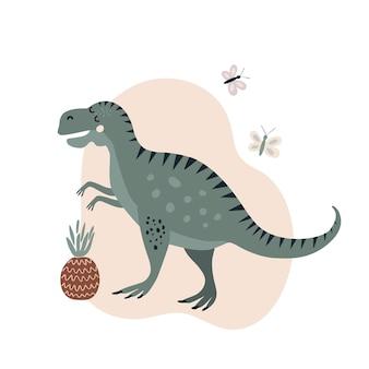 Illustrazione vettoriale animale dinosauro verde su sfondo ananas disegno stile piatto