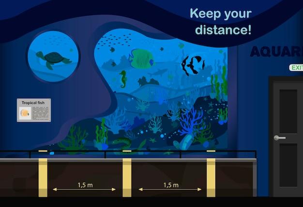 Illustrazione vettoriale dell'acquario una stanza con acquari e segni per mantenere la distanza