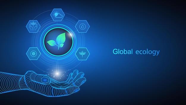 Illustrazione vettoriale di intelligenza artificiale che tiene in mano icone ed elementi in difesa dell'ecologia globale. scienza, futuristico, web, concetto di rete, comunicazioni, alta tecnologia. eps 10