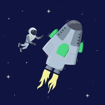 Illustrazione vettoriale di astronauta che galleggia nello spazio. concetto di esplorazione del pianeta