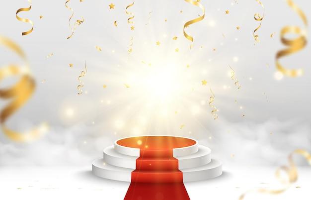 Illustrazione vettoriale per i vincitori del premio piedistallo o piattaforma per onorare i vincitori del premio