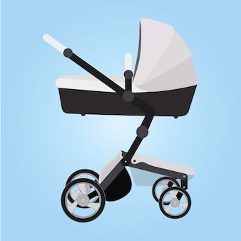 Illustrazione vettoriale carrozzina, design piatto, carrozzina, passeggino, carrozzina, passeggino.