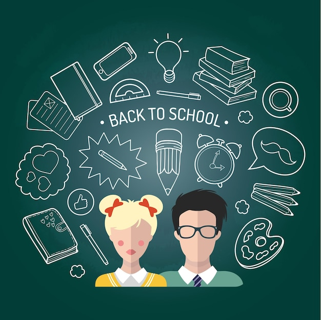Illustrazione vettoriale di ritorno a scuola in stile piano. sfondo educativo con icone di studenti e alunni.