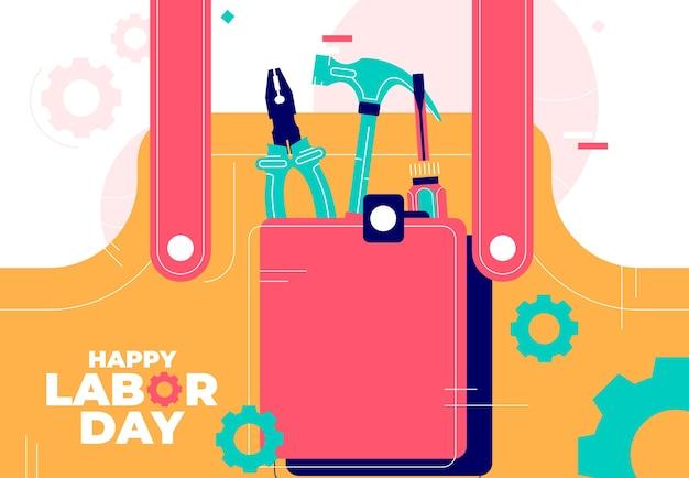Illustrazione vettoriale di uno sfondo per happy labor day.