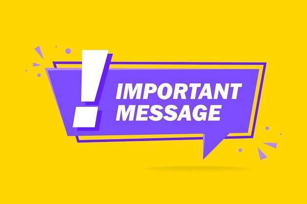 Banner di illustrazione vettoriale messaggio importante con punto esclamativo