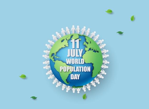 Illustrazione vettoriale, banner o poster della giornata mondiale della popolazione. stile di taglio della carta