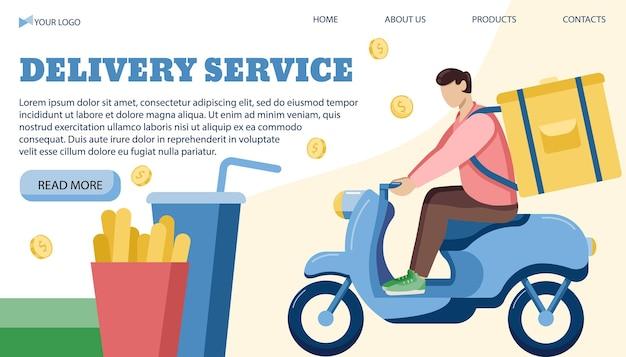 Modello di banner illustrazione vettoriale per il servizio di consegna in uno stile piatto