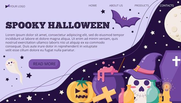 Modello di banner illustrazione vettoriale con testo per halloween con dolcetto o scherzetto oggetti