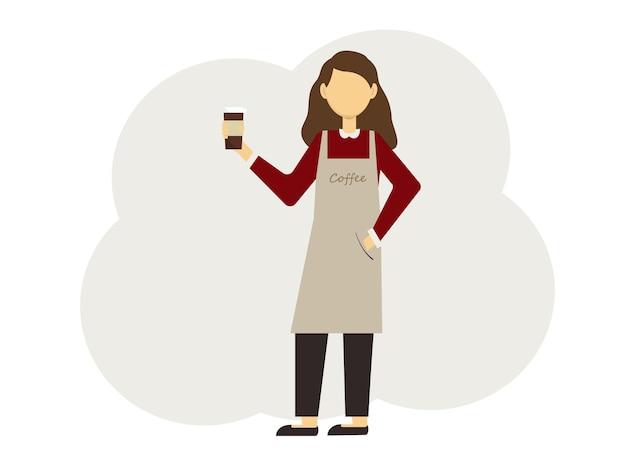 Illustrazione vettoriale di donna barista con bicchieri di caffè e in uniforme con grembiuli