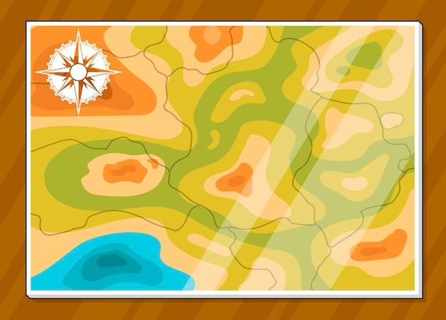 Un'illustrazione vettoriale di una mappa generica di base con navigatore