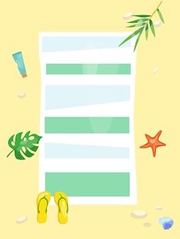 Illustrazione vettoriale di un tappetino da spiaggia e accessori da mare su uno sfondo sabbioso