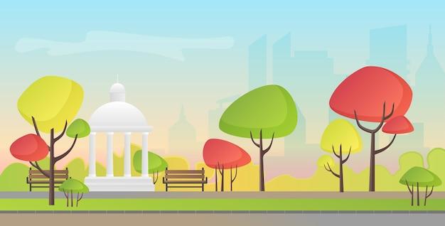 Illustrazione vettoriale di un bellissimo parco cittadino in autunno con la costruzione della città. serata nel parco.