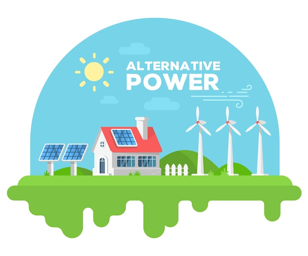 Illustrazione vettoriale di bella casa con camino e recinzione su erba verde. concetto di fonti di energia alternative con mulino a vento e pannello solare
