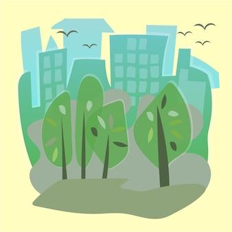 Illustrazione vettoriale di un bellissimo parco cittadino estivo con sfondo di costruzione di città.