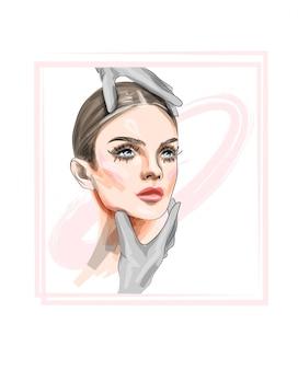 Illustrazione vettoriale bella donna con il trucco
