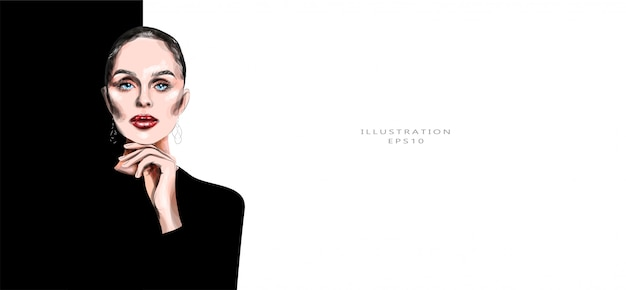 Illustrazione vettoriale bella giovane signora in abiti neri. trucco luminoso. illustrazione alla moda.
