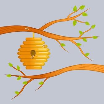Illustrazione vettoriale di casa delle api con ingresso rotondo. Vettore Premium