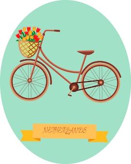 Illustrazione vettoriale di una bicicletta e un cesto con tulipani