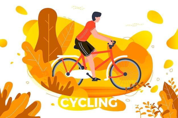 Illustrazione vettoriale - uomo di andare in bicicletta. parco, foresta, alberi e colline sullo sfondo. banner, sito, modello di poster con posto per il testo.