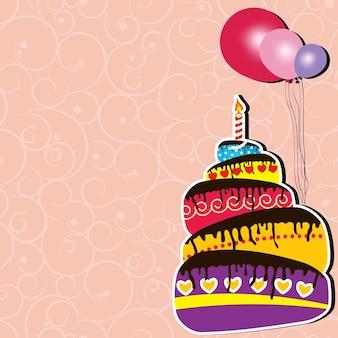 Illustrazione vettoriale di biglietto d'auguri con torta e palloncini
