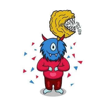 Illustrazione vettoriale compleanno con simpatici personaggi di mostri