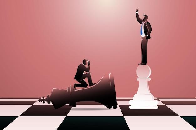 Illustrazione vettoriale del re degli scacchi nero che stabilisce e pedone bianco in piedi vincitore su una scacchiera con un uomo d'affari su di esso