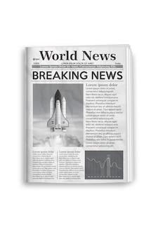 Illustrazione vettoriale di layout di giornale in bianco e nero.