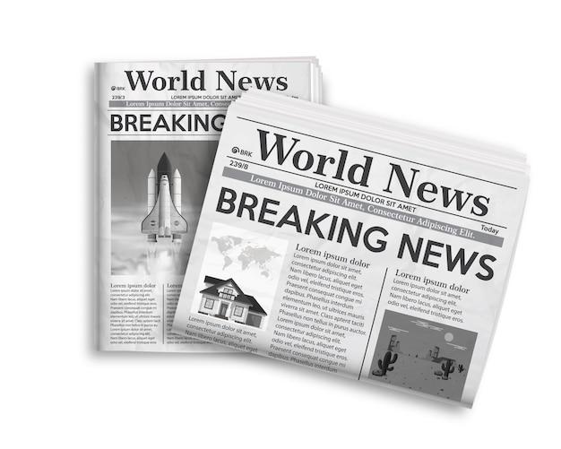 Illustrazione vettoriale di layout giornale bianco e nero.
