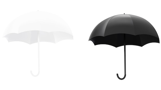 Illustrazione vettoriale di un ombrello bianco e nero isolato.