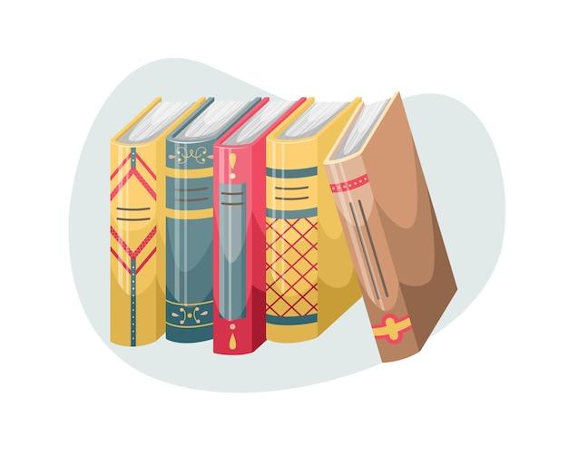 Illustrazione vettoriale di libri con copertine e dorsi in stile retrò.