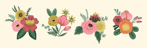 Illustrazione vettoriale mazzi di fiori. modello di progettazione