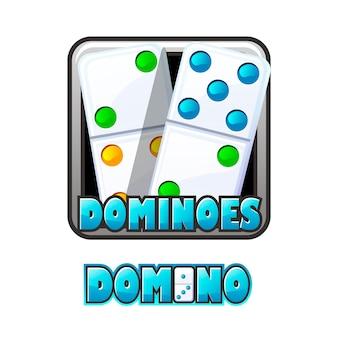 Illustrazione vettoriale di un logo di domino luminoso in una cornice. iscrizione di domino e chip colorati.
