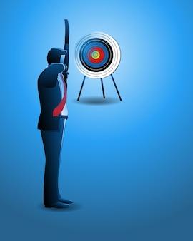 Illustrazione vettoriale del concetto di business, uomo d'affari che mira al bersaglio con arco e freccia
