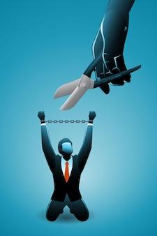 Illustrazione vettoriale del concetto di business, l'uomo d'affari chiede aiuto alla mano gigante per tagliare la catena nelle sue mani