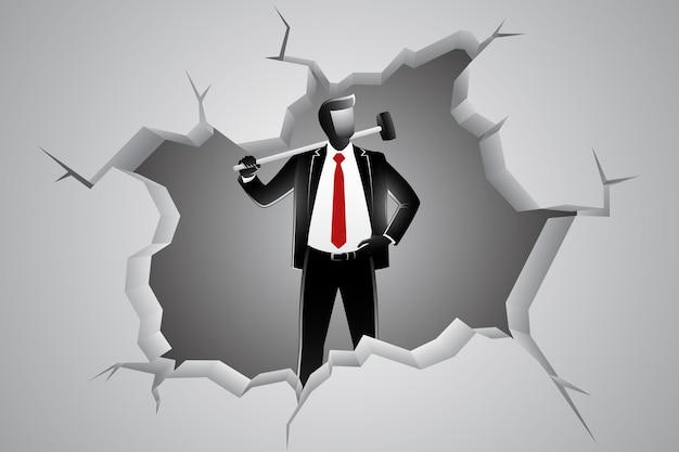 Illustrazione vettoriale del concetto di business, uomo d'affari che rompe il muro con il martello