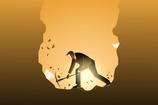 Illustrazione vettoriale del concetto di business, uomo d'affari che scava con il piccone per ottenere il diamante