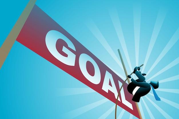Illustrazione vettoriale del concetto di business, uomo d'affari che fa salto con l'asta verso l'alto obiettivo dell'obiettivo