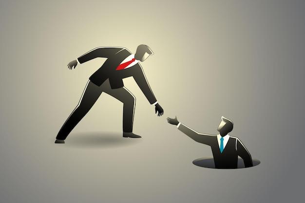 Illustrazione vettoriale del concetto di business, uomo d'affari che aiuta il suo amico a uscire dal buco