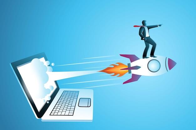 Illustrazione vettoriale del concetto di business, uomo d'affari su un razzo che vola fuori dallo schermo del laptop