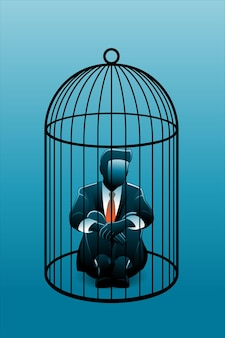 Illustrazione vettoriale del concetto di business, uomo d'affari seduto su una gabbia per uccelli mentre abbraccia le ginocchia