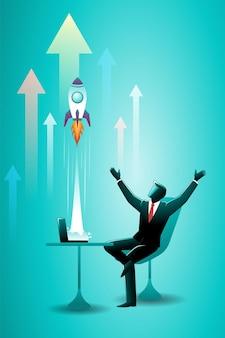 Illustrazione vettoriale del concetto di business, uomo d'affari seduto su una sedia con un razzo esploso dal laptop