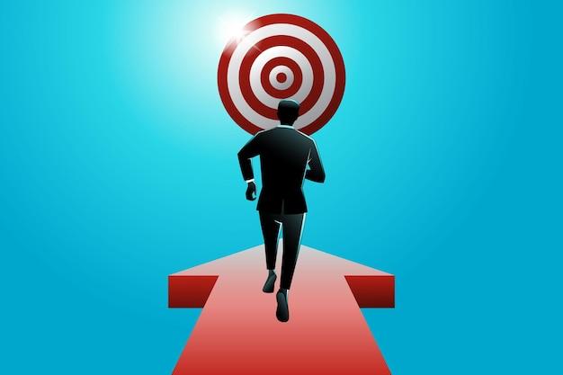 Illustrazione vettoriale del concetto di business, uomo d'affari che cammina sulla freccia che mira al bersaglio