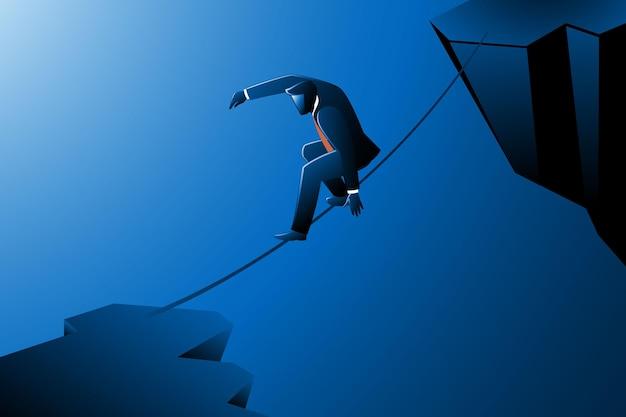 Illustrazione vettoriale del concetto di business, uomo d'affari che cammina sulla corda attraverso le scogliere