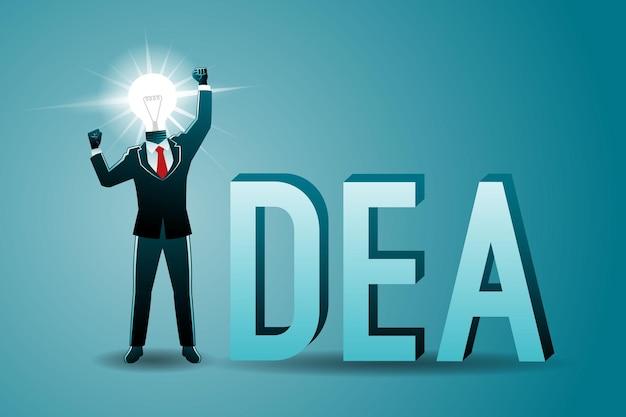 Illustrazione vettoriale del concetto di business, uomo d'affari con lampadina come testa e la parola idea