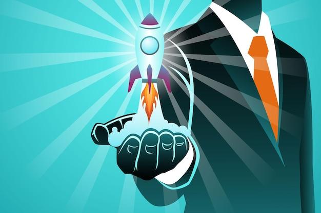 Illustrazione vettoriale del concetto di business, lancio di un razzo da uomo d'affari palm