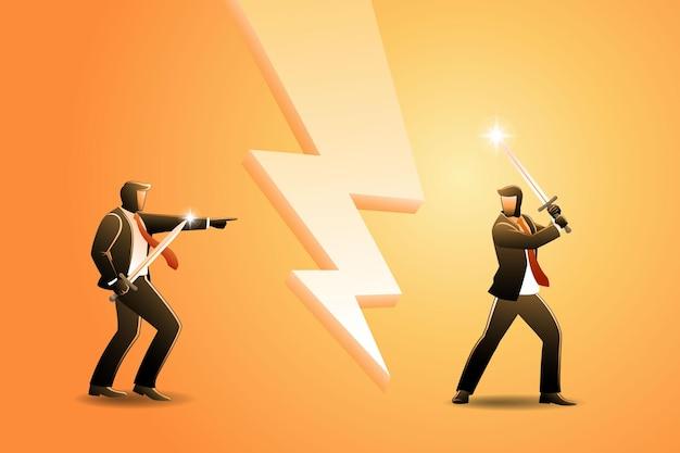 Illustrazione vettoriale del concetto di business, confronto di due uomini d'affari con la spada pronta a combattere ready