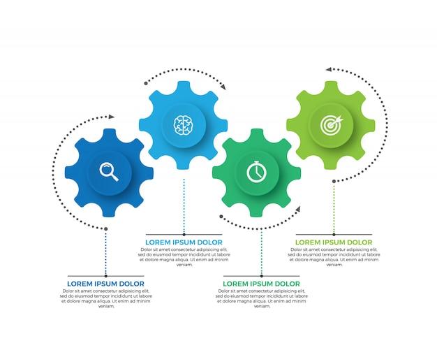 Illustrazione vettoriale di affari infografica fatta di ingranaggi. 4 step o opzione.